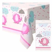 PINK UMBRELLAPHANTS - Tablecover, Baby Shower Party Girl, Tableware Supplies