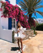 Summer White A Line Lace Mini Ruffle Holiday Occasion Dress Designer CB Style