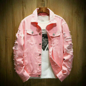 Mens Fashion Casual Denim Pink Tops Slim Fit Jeans Jacket Hole Ripped Coats