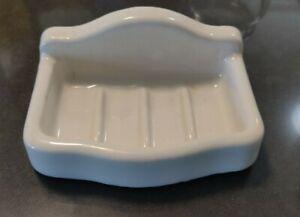 Vintage Antique ART DECO White Wall Mounted Porcelain Soap Dish