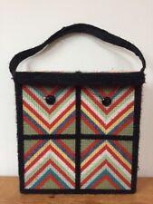 Vintage 70s Hippy Needle Point Chevron Triangle Cross Stitch Purse Handbag Bag