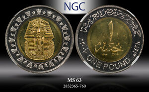 AH1428//2007 EGYPT 1 POUND MAGNETIC NGC MS63 #A