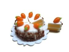 8 Cut Slice Carrot Cake Dollhouse Miniatures Food Bakery Easter Holiday (2.00cm)
