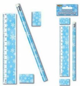 Snowflake Xmas Stationery Set Ruler Pencil Sharpener Eraser 4 Items