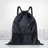 Mens Womens Drawstring Bag Sports Gym Sack Swimming Anti-splash School Backpack