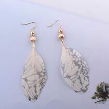 Retro Bohemia Women Vintage Shade Feather Dangle Ear Stud Silver Plated Earrings