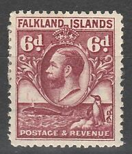 FALKLAND ISLANDS 1929 KGV PENGUIN AND WHALE 6D REDDISH PURPLE