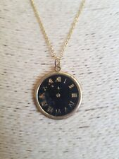 Fashion Jewellery Necklace gold tone chain with faded clock Pendant