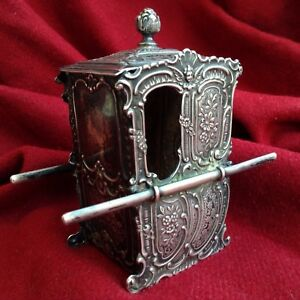 Antique Baroque Nurnberg German 18. c. Sterling Silver Box Sedan Chair Royal Toy