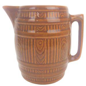 Vintage McCoy Pottery Barrel Pitcher Vessel Jug Brown Water Cider Stoneware 944