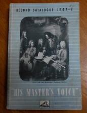 UK HIS MASTER'S RECORD CATALOGUE 1947-48