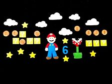 Set DECORAZIONI PER TORTA: nome, età Mario, impianti, stelle, nuvole, monete, scatole