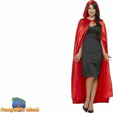 Hooded Cape Red Riding Hood Vampire Womens Ladies Fancy Dress Accessory