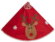 Christmas Tree Skirt Red With Cute Reindeer Design Fabric Tree Skirt