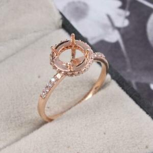 925 Silver 6 mm Round Semi Mount Ring Setting Engagement Ring Rose Gold Rhodium