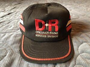 vintage DR Dresser Rand black red striped mesh trucker hat cap USA