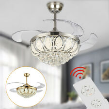 Modern/Luxury Remote Invisible Ceiling Fan Lamp Crystal LED Chandelier Light US