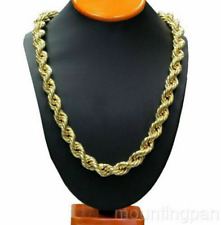 """Twisted Rope Chain 30"""" 24k Yellow Gold Filled Mens Necklace 10mm Wide Jewelry"""