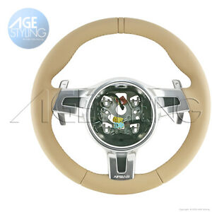 OEM Porsche Cayenne Luxor Beige Leather Steering Wheel with Gear Paddle Shifters