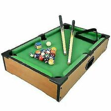 ASAB Mini Wooden Table Top Pool Play Snooker Game Set with 2 Mini Cues, 15 Coloured Billiard Balls, 1 White Cue Ball, Triangle & Chalk