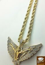 Real 10k Yellow Gold and Diamond Guardian Angel Charm with 28 Inches Rope Chain.