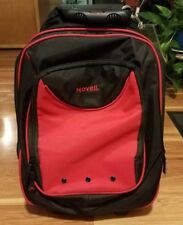 Large Novell Red & Black Rolling Backpack with Laptop Sleeve