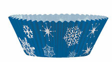 48 piece Blue Snowflakes Cupcake decorating Kit cases & Picks Christmas / Frozen