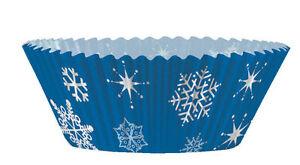 48 piece Blue Snowflakes Cupcake decorating Kit cases & Picks Christmas / Frozen