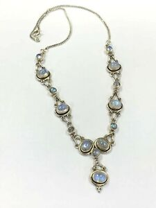 Vintage Mid Century Cabochon Rainbow Moonstone Sterling Silver Necklace 18.7gr