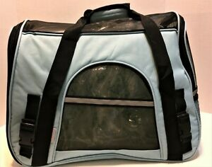Pet Carrier Paws & Pals Airline Approved Small Cat Dog w/ Shoulder Strap Blue