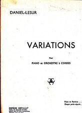 VARIATIONS pour Piano et Orchestre a Cordes Daniel Lesur 1943
