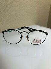 Vintage Sisley Black Unisex Eyeglass Frames Made in Italy (1990s)w/Clip Ons
