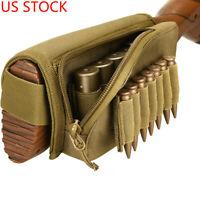 US Tactical Buttstock Shotgun Rifle Shell Holder Cheek Rest Pouch Ammo Holder