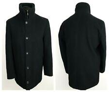 Paul Smith Mens Overcoat 46'' Jacket Black Coat Wool Cashmere Parka Winter