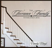Personalized Family Name Sign - Family Established Decal - Family Wall Decal -