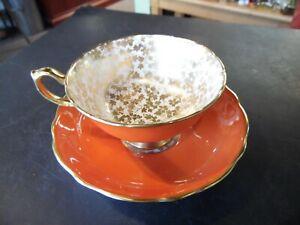 Vintage Hammersley Orange & Gold Teacup & Saucer #4452