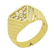 14K Yellow Gold Diamond Cluster Mens Ring 0.50ct Size 9 7.8 Grams