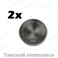 2X Batteria ricaricabile LIR2025 litio bottone rechargeable coin battery lithium