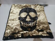 HALLOWEEN BLACK GOLD SKULL REVERSIBLE SEQUINS  PLACEMAT