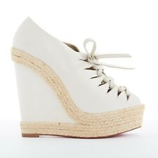 new CHRISTIAN LOUBOUTIN Viva Boom grey suede cut out espadrille wedge EU38 US8