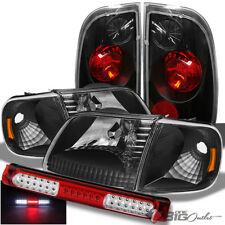 For 97-03 F150, 04 Heritage Black Headlights + Tail Lights + Red LED 3rd Brake