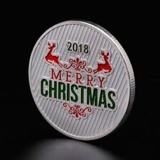 Christmas Commemorative Coin Santa Claus Deer New Year Collection Gift Silver