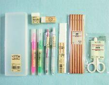 MUJI 10 PCS SET Pens Pen Case Eraser Ruler Scissors Sharpener Stationery Gift