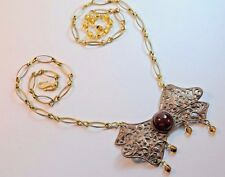 Vintage Raw Brass Necklace Czech Art Nouveau Revival Agate Glass Handmade Ooak
