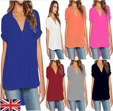 Plus Size 6-18 Womens Ladies Summer V Neck T-shirt Casual Loose Tops Blouse Tee