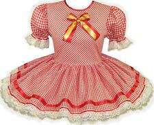READY 2 WEAR | Red Gold Lacy CHRISTMAS Adult Baby Sissy Little Girl Dress LEANNE
