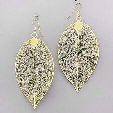"Leaf Filigree Earrings Hanging 4"" Drop Lightweight Tree GOLD Fashion Jewelry"