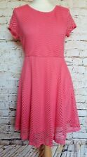 Coral Pink Lace Skater Dress Stretchy Flattering V Back Fit and Flare XL14-16