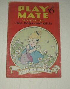 CHILDREN'S PLAY MATE MAGAZINE/AUG 1934/UNCUT PAPER DOLL