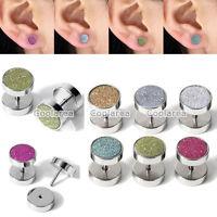 16G Steel Fake 00G Cheater Glitter Ear Stud Plugs Illusion Barbell Earrings